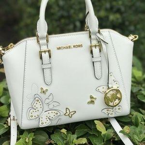 Michael Kors Ciara MD Messenger Leather Bag White